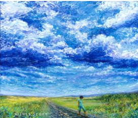 A natureza através do olhar da artista Iris Scott que dispensa os pincéis e espátulas e pinta com os dedos. Confira!