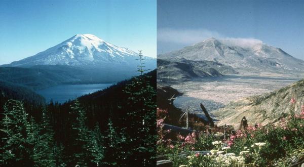 Antes e depois da erupção