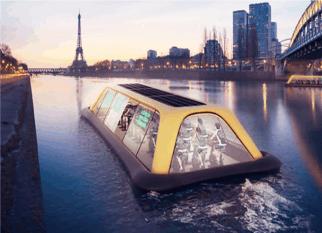 Uma academia flutuante movida pela energia produzida pelas pessoas, cruzando o Rio Sena. Um luxo! Confira!