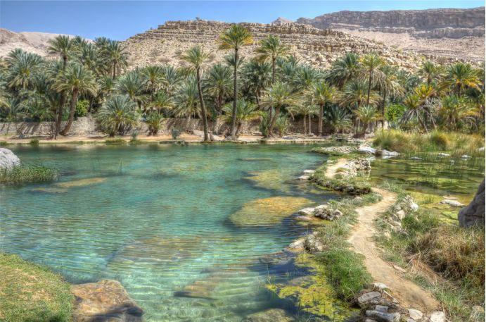 Wadi Bani Khalid, Oman - fica em  um vale em Omã, faz parte da Península Arábica. Suas nascentes brotam do subterrâneo,  tem formações  rochosas coloridas  com alta concentração de minerais. É um dos oásis mais acessíveis da Arábia -  Foto: Iuliia Malega/Shutterstock